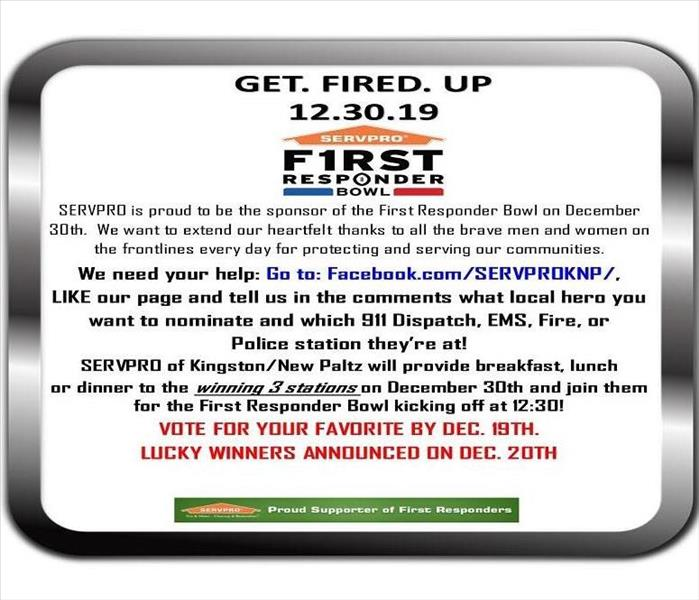A flier promoting voting on Facebook for local first responders in regards to the SERVPRO First Responder Bowl