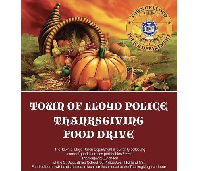 An image of a cornucopia with information regarding a Thanksgiving food drive
