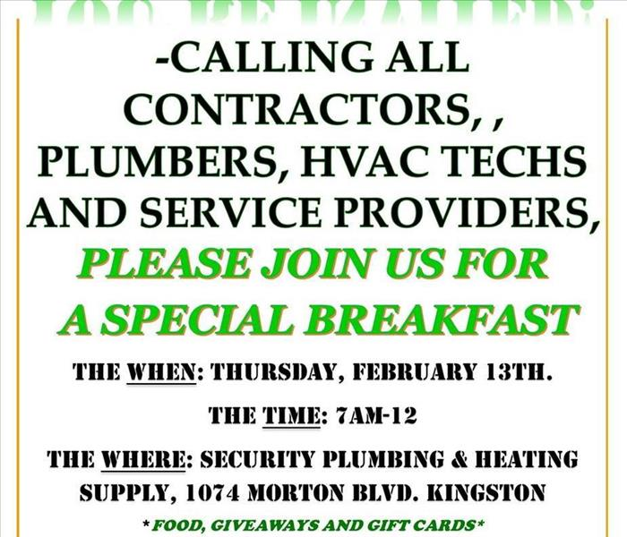 A flier inviting all contractors to a special breakfast on Feb. 13th