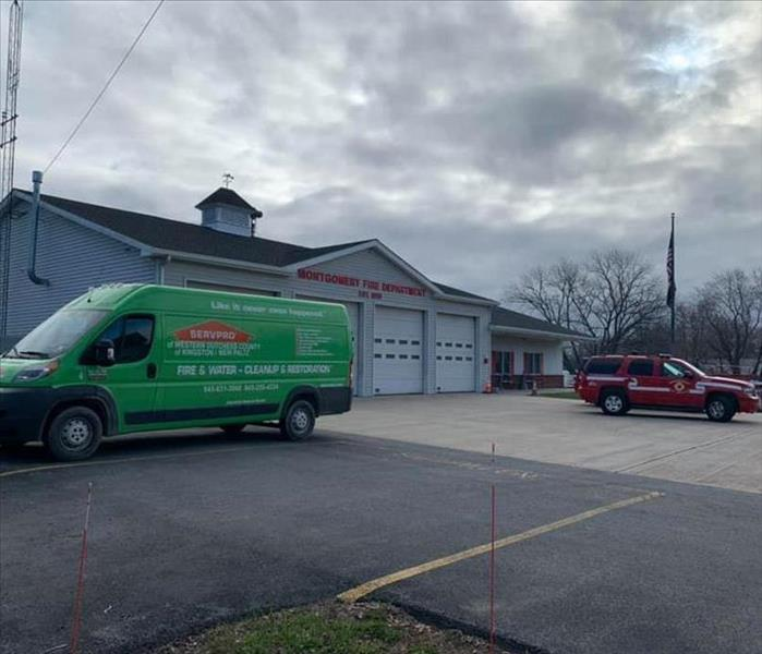 A photo of a SERVPRO van at the Montgomery Fire House