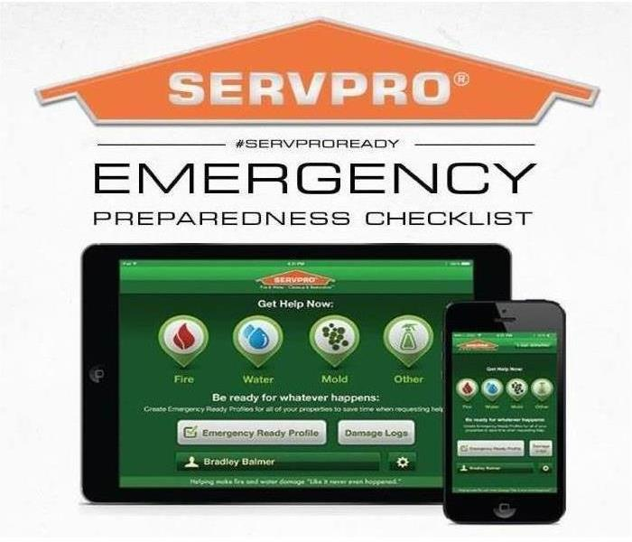 An image of an Ipad and an Iphone with the SERVPRO Emergency Ready App displayed on each